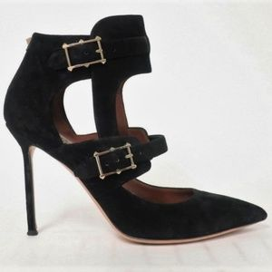 Valentino Hitch On Pump Black Cutout Suede